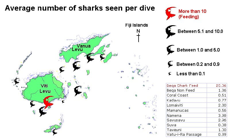 Mapped average number of sharks per dive